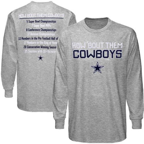 Dallas Cowboys How 'Bout Stats Long Sleeve T-Shirt - Ash (Medium)
