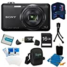 Sony DSC-WX80/B DSC-WX80 WX80 DSCWX80B 16 MP Digital Camera with 2.7-Inch LCD (Black) Bundle with 16GB SD Card, Spare Battery, Case, and Mini Tripod, SD Card Reader and MORE!
