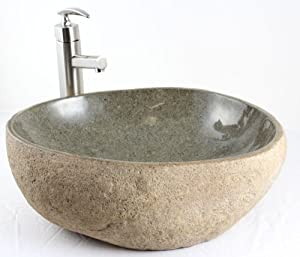 River Rock Sink : Natural River Rock Stone Bathroom Lavatory Vessel Sink - 19 x 16 x 6-1 ...