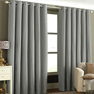 """Antigua Silver Basket Weave Heavyweight Lined Ring Top Curtains 66"""" X 90"""" by PCJ SUPPLIES"""