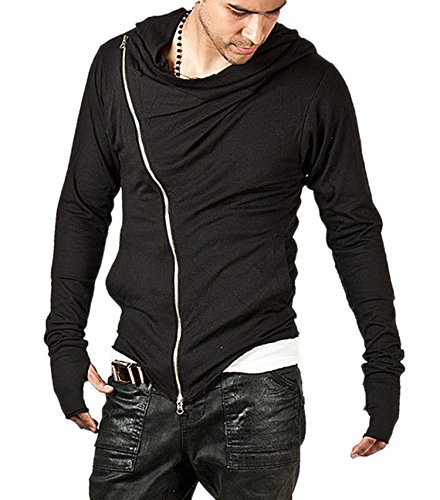 FanShou Men Long Sleeve Side Zipper Cotton Sweatshirt Hoodies With Pocket Black XL (Mens Hoodie Side Zip compare prices)