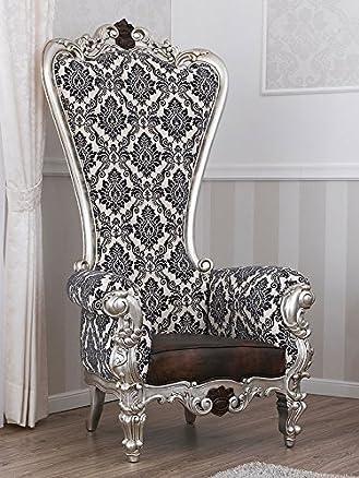 Poltrona trono stile Barocco New Classic foglia argento mecca particolari noce tessuto damascato bianco cenere nero ecopelle brown