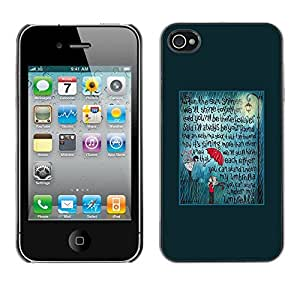 Omega Covers - Snap on Hard Back Case Cover Shell FOR Apple iPhone 4 / 4S - Teal Umbrella Love Text Quote