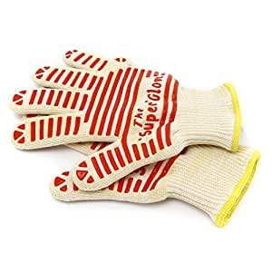 Kuisiware Heat Resistant Cooking Gloves - Resistant to Fire and Heat up to 662F - Top Quality Grill & Oven Gloves with Five Fingers Silicone Flexi-grip, Lightweight, Comfortable 100% Cotton Lining, One Size Fits All