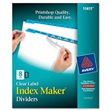 Avery Index Maker Dividers, 8-Tab, White, 5 Sets (11411)