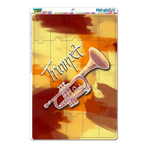 Graphics And More Trumpet Musical Instrument Music Brass Red And Yellow Mag-Neato'S Gift Locker Refrigerator Vinyl Puzzle Magnet Set front-615115
