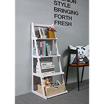 C&AHOME Wood-Plastic 4-Tier Ladder Style Shelf A-Frame Shelf Plant Stand, White