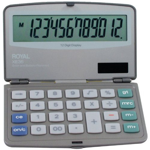 Royal XE36 Calculator with 12 Digit Display, Extra Large Display, Solar and Battery Power (Extra Large Display Case compare prices)