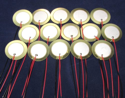 "15 Pieces - 27Mm Piezo Disc Elements With 4"" Leads"
