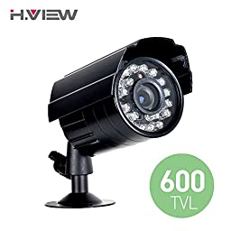 H.View 600TVL Security CCTV Camera, 50ft Night Vision Outdoor/ Indoor Wired Bullet Camera, 24 IR LEDs, 3.6mm Lens Video Surveillance Cam