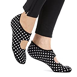 NuFoot Mary Jane Travel Slipper - Patterns (Black & White Polka Dot - Extra