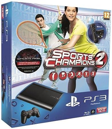 Console PS3 Ultra slim 12 Go noire + Pack Découverte PlayStation Move + Sports Champions 2 (30 euros remboursés en plus)