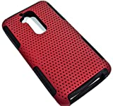 myLife Fire Brick Red + Eerie Black {Mesh Design} 2 Layer Neo Hybrid Case for the for the LG G2 Smartphone (External Rubberized Hard Safe Mesh Piece + Internal Easy Grip Silicone Flexible Bumper Gel)