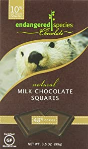Endangered Species Otter, Natural Milk Chocolate Squares (48% Cocoa), 10-Count Individually Wrapped Pieces (Pack of 6)