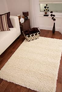 "SOFT THICK LUXURY CREAM SHAGGY RUG 9 SIZES AVAILABLE 160cmx220cm (5ft3"" x 7ft3"")"