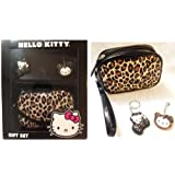 Hello Kitty Brown Leopard Cosmetic Bag Keychain and Keycap 3 pc Gift Set (Color: Brown)