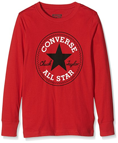Converse Chuck Patch Long Sleeve, T-Shirt Bambino, Rosso (Red), Medium (Taglia Produttore: 10-12Y)