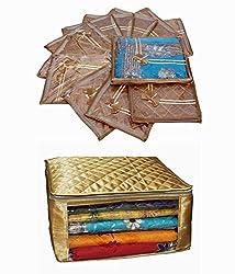 Saree Cover 12 Pcs Set in Golden satin & Extra Large Saree Cover, Wedding Gift