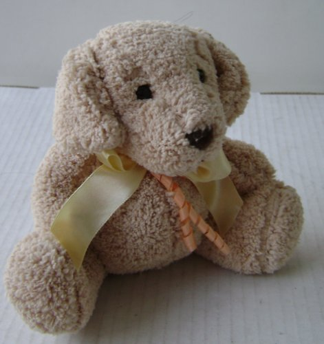 Beige Dog with Yellow and Orange Ribbon Plush Toy Stuffed Animal - 6 inches tall
