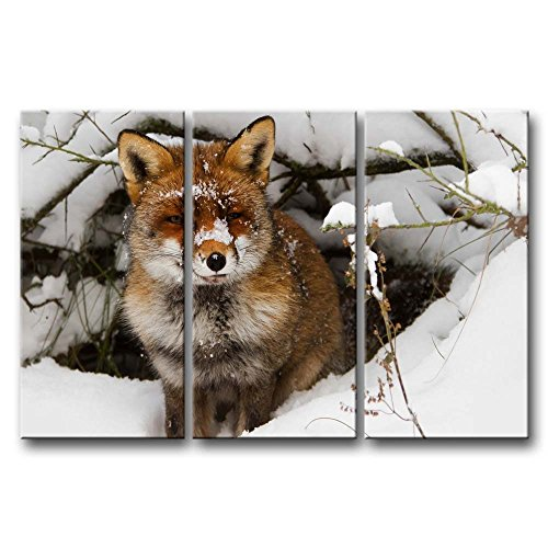 3 Panel Wall Art Painting Fox In The Snow Pictures Prints On Canvas Animal The Picture Decor Oil For Home Modern Decoration Print For Office Walls