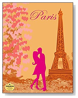 Kissing In Paris Notebook - For the pink Paris-loving romantic! A couple kissing at the Eiffel Tower is the focal point of the cover of this college ruled notebook.