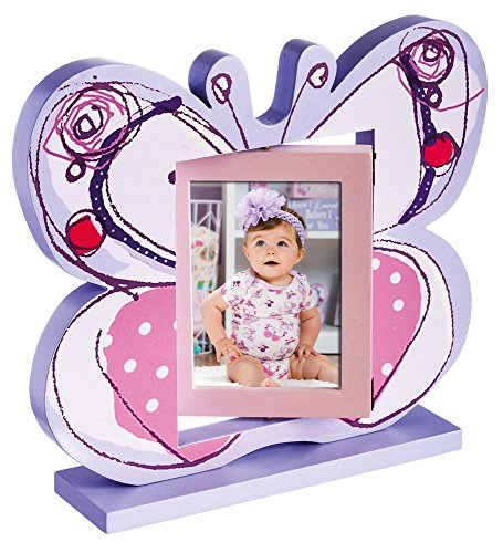 Sweet Butterflies Pink and Purple Wooden Swivel Frame