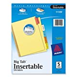 Avery WorkSaver Big Tab Insertable Dividers, 5-Tabs, 1 Set (11109)