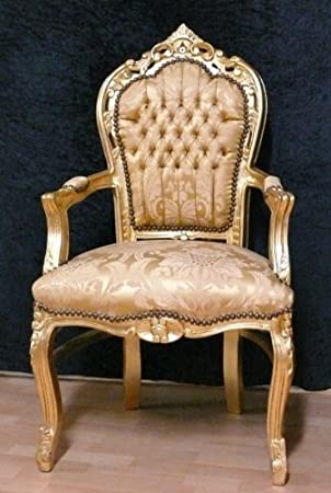 baroque armchair fauteuille gold colored Brokat fabric Ornament