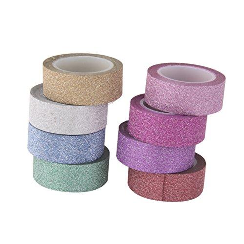 8pz-10m-colorato-scintillio-washi-nastro-fai-da-te-adesivi-di-carta-adesiva-15-cm