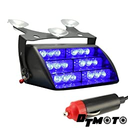 DT MOTO™ Blue 18x LED Personal Emergency Vehicle Windshield Strobe Dash Warning Light - 1 unit