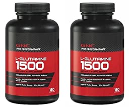 GNC Pro Performance L-Glutamine 180 Capsules Single or Multi Pack (Two Bottles Each of 180 Capsules)