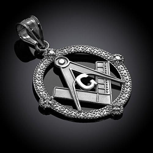 925 Sterling Silver Freemason Round Masonic CZ Pendant Necklace by Claddagh Gold