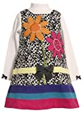 Bonnie Jean Girls Spotted Sequin Flower Bouquet Corduroy Jumper Dress