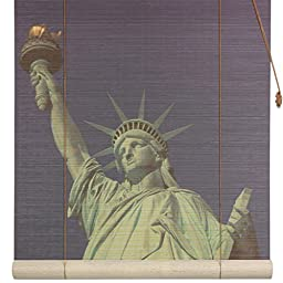 Oriental Furniture Statue of Liberty Bamboo Blinds - (48 in. x 72 in.)