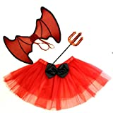 Girls 4-14 Red Black Halloween Devil Witch TUTU WINGS FORK Fancy Dress Costume [4-8 YEARS RED]