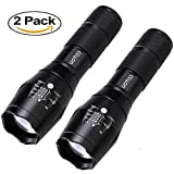 UOTOO 2PCS CREE 1400 Lumen XML-T6 LED Flashlight Zoomable Adjustable Focus, 5 Modes, Water Resistant Tactical LED Flashlight For Outdoors, Camping, Hiking, Fishing