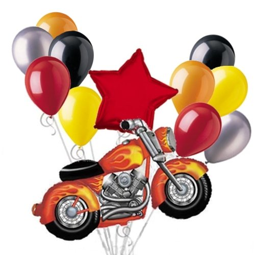 Snarly Motorcycle Balloon Bouquet Set with Red Star 12pc - 1