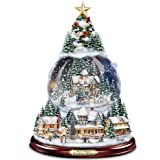 """Thomas Kinkade """"Wondrous Winter"""" Musical Tabletop Christmas Tree With Snowglobe: Lights Up! by The Bradford Exchange"""