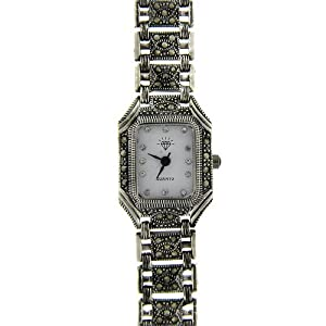 sterling silver marcasite square link watch