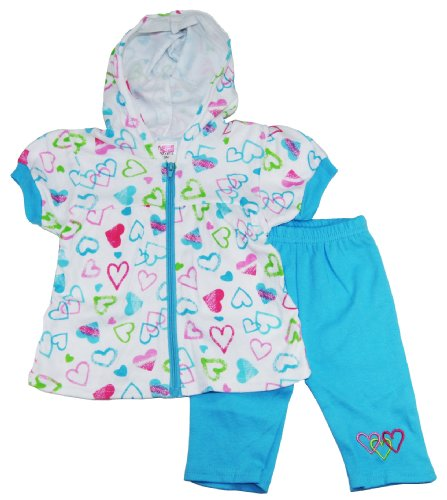 Coney Island Baby Girls Hearts Zipped Hooded Top Capri Pants Set 6-9M Blue front-735129