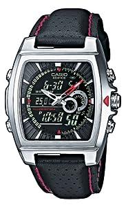 CASIO Edifice EFA-120L-1A1VEF - Reloj de caballero de cuarzo, correa de piel color negro (con cronómetro, alarma, luz)
