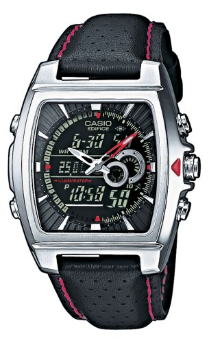 Casio Stainless Steel Edifice Square Black Dial Chronograph Strap Red Accents