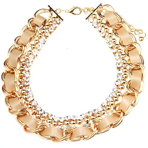 2013 New Fashion Golden chain with rhinestone Statement Necklace(wiipu-A54)