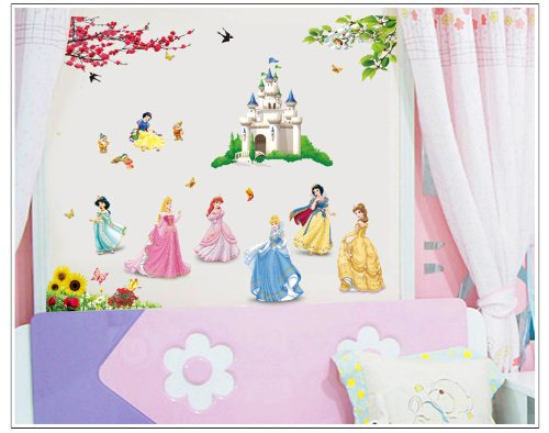 Large Beautiful Princesses And Castle Disney Flowers 85Cm*110Cm front-45591