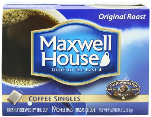 Maxwell House Coffee Singles,Original Roast 19-Count Single Serve Bags Net Wt 3 Oz (Pack of 4) (Instant Coffee Single Packs compare prices)