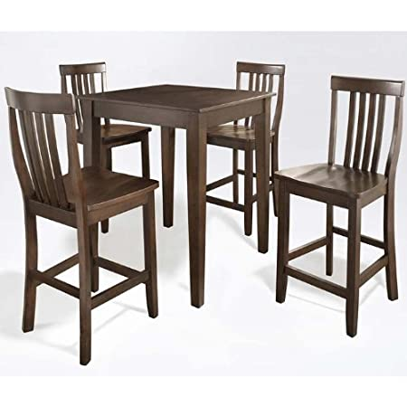 Crosley 5-Piece Pub High Dining Set with Tapered Leg and School House Stools