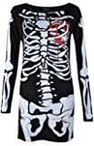 Womens Ladies Halloween Skeleton Skull Bone Red Blood Heart Girls Bodycon Costume Novelty Party Dress Tunic Plus Size 8-10-12-14 16 18 20