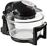 Kitchen - Andrew James 12 LTR Premium Black Digital Halogen Oven Cooker With Hinged Lid + Easily Replaceable Spare Bulb + 2 YEAR WARRANTY + 128 page Recipe Book - Complete with Extender Ring (Up to 17 Litres), Cake/Rice Dish, Toast Rack, Baking Tray, Steamer Tray, Skewers, High And Low Racks 1400 Watts