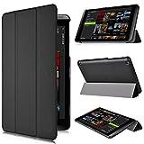 KuGi NVIDIA SHIELD Tablet K1 8インチ / NVIDIA SHIELD 第2代 Tablet ケース 薄型 軽量 マグネット開閉式 三つ折 PU レザーカバー ブラック