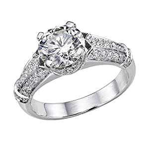 GIA Certified 14k white-gold Round Cut Diamond Engagement Ring (1.59 cttw, K Color, SI1 Clarity)